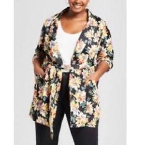 Ava & Vic Black Floral Blazer 2X